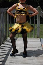 Photo: Custom Made! To buy (CSD-Honeyman) email me at Pam@act2dancecostumes.com   $135.00 Qty (3) Size: 1-Small/Med, 2-Child Med (Hat & Spankies not available with one  of the Med Child)   Way too cute Black/Gold costume bee costume. Loaded with Swarovski 20's/30's crystel AB rhinestones. Top- Tons of detail...you'll just have to look at the photos!!! Skirt- rhinestoned waist line, feather boa trim. Costume comes with Top, Skirt, Hat, Gloves, Shoe Bows,Choker.   Paypal/Credit accepted.  US shipping $10 7 day returns/same condition. CSD001, CSD024, CSD025