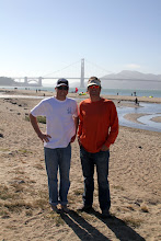 Photo: DONE!  Off the water and into some dry clothes.  Jeff and Jay chill on the beach for a moment.