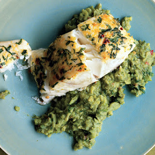 Halibut on Mashed Fava Beans with Mint.