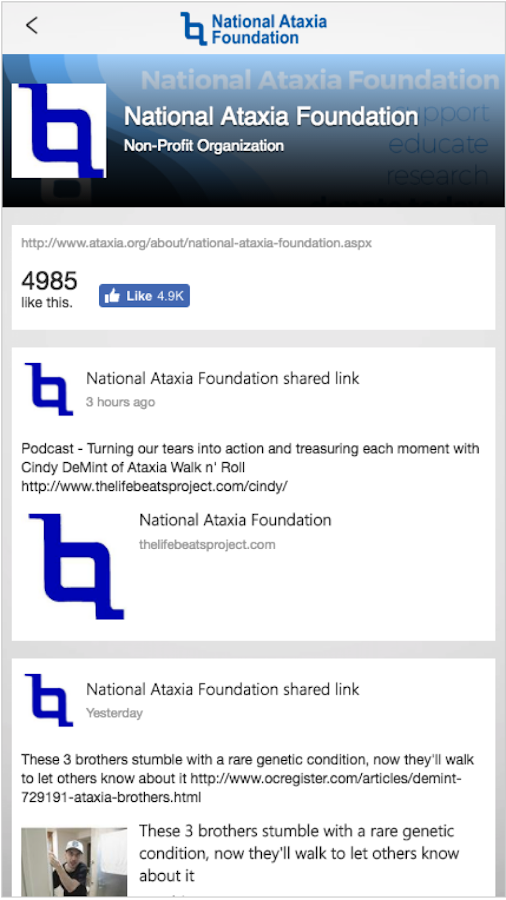 The National Ataxia Foundation- screenshot