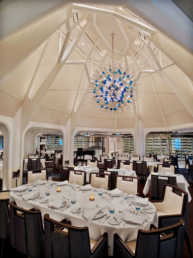 The Restaurant serves as the main dining venue on Seabourn Encore.