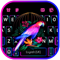 Neon Parrot Keyboard Background icon
