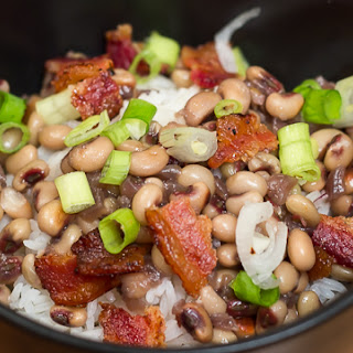 Purple Hull Peas with Bacon and Rice.