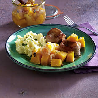 Wild Boar Medallions with Pickled Squash and Mashed Celeriac.
