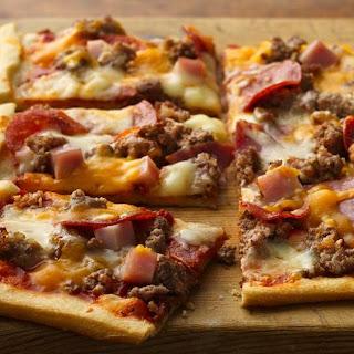 Mega-Meat Pizza.