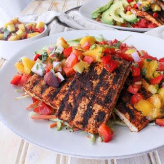 Vegan Grilled Tofu Taco Salad with Peach Mango Salsa