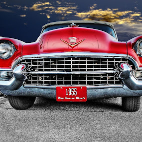 Full Monty by JEFFREY LORBER - Transportation Automobiles ( red cadillacm 1955, cadillac, lorberphoto, automobile, rust 'n chrome, jeff lorber, jeffrey lorber, car photo, red car,  )