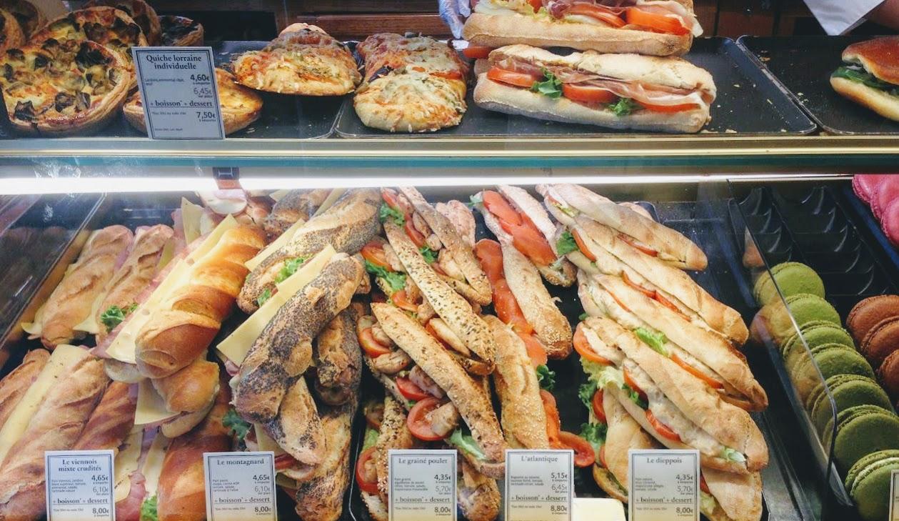 France,フランス,Paris,パリ,PAUL:ポールSaint-Germain,Buci通りのSiene店,メニュー,サンドイッチ,値段