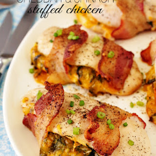 Bacon-Wrapped Cheddar & Spinach Stuffed Chicken.