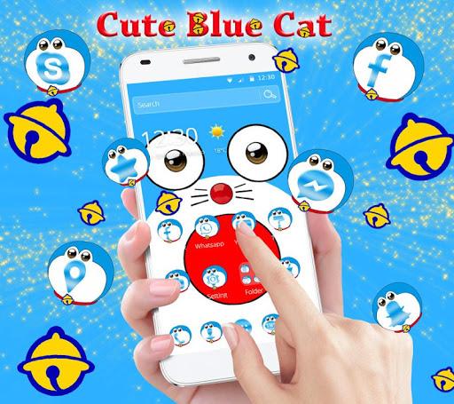 Blue Cute Cat Cartoon Theme 1.1.1 screenshots 1