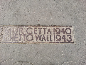Photo: A few blocks away from the extensive, detailed museum for the Warsaw Uprising of 1944, the only memorial for the infamous ghetto (which saw a Jewish resistance uprising in 1943 that, arguably, inspired the wider uprising a year later) was this marker on the sidewalk...