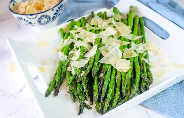 Parmesan Asparagus On A Serving Platter.