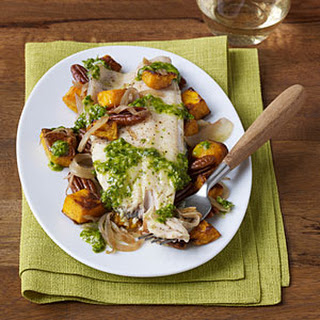 Grilled Trout with Roasted Butternut Squash, Pecans,and Celery Leaf Pesto