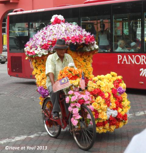 rickshaw along the streets of Malacca