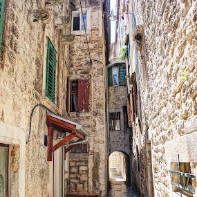 Quiet street in Split by Shona McQuilken - City,  Street & Park  Street Scenes ( hdr, street, croatia, stone, split, alley )