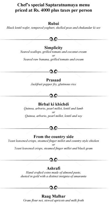 Amaranta, The Oberoi menu 7