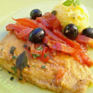 Cod With Tomatoes, Olives And Polenta.