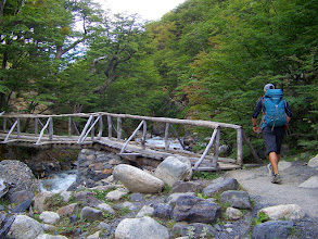 Photo: Roberto leads us across a typical trekker bridge