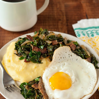 Fried Eggs and Collard Greens over Polenta