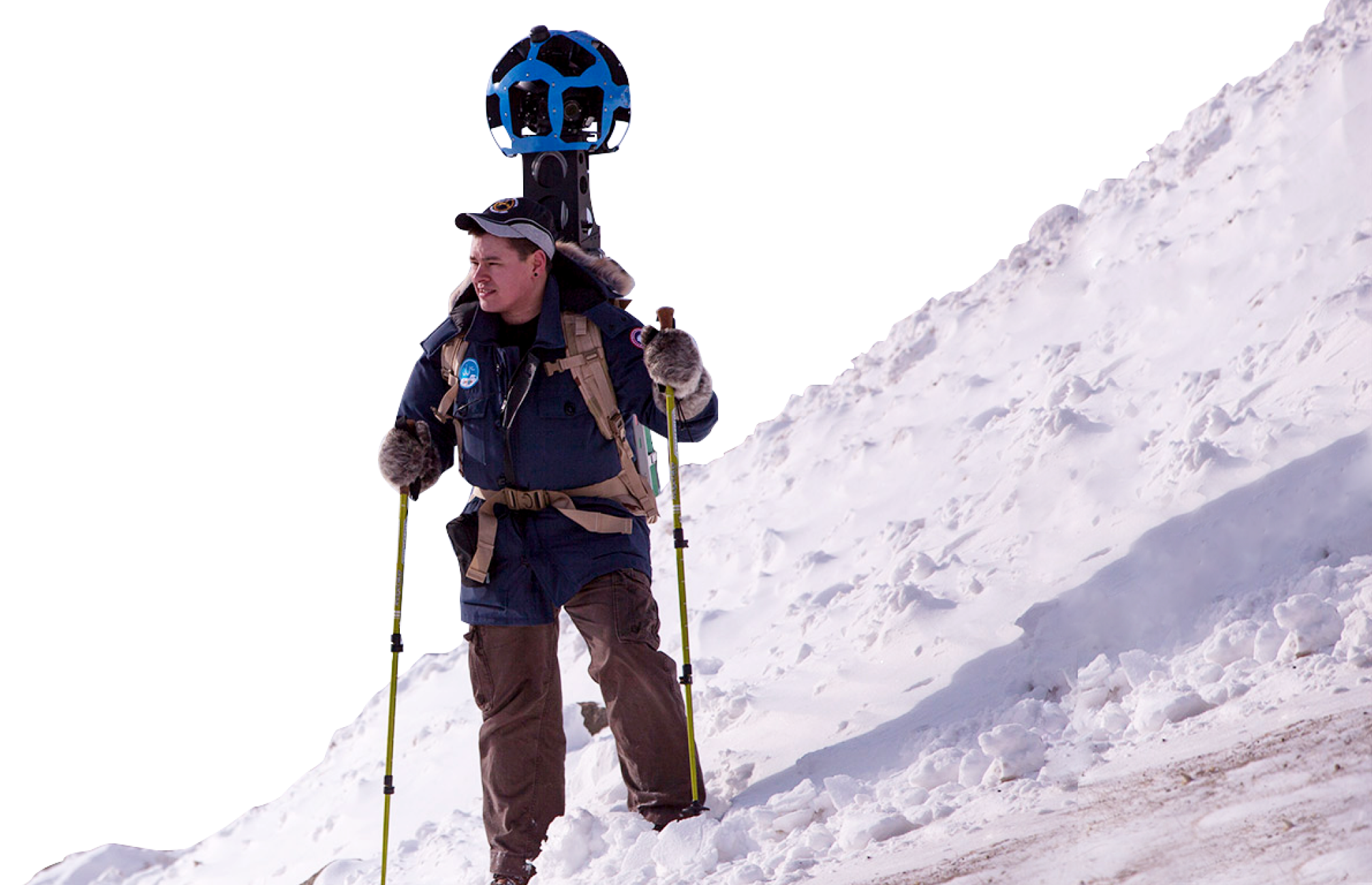 Mountain climber with Google Street View camera on his back