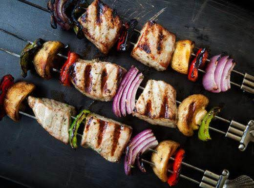Grilled Tuna Kebabs With Wasabi Sauce