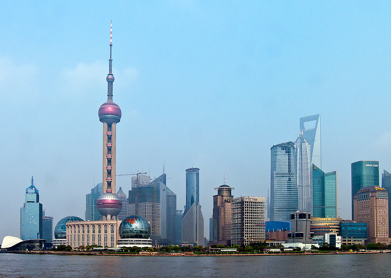 Photo: Shanghai, China Looking across the river from The  Bund -April 2009  #Travel   #China   #Shanghai