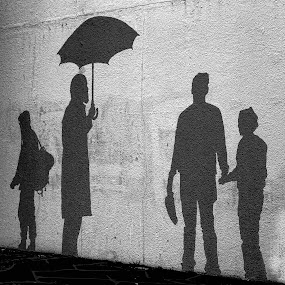 Shadows. by Konrad Ragnarsson - Artistic Objects Other Objects ( hafarfjordur, iceland, konni27, umbrella, people, artwork, shadows )
