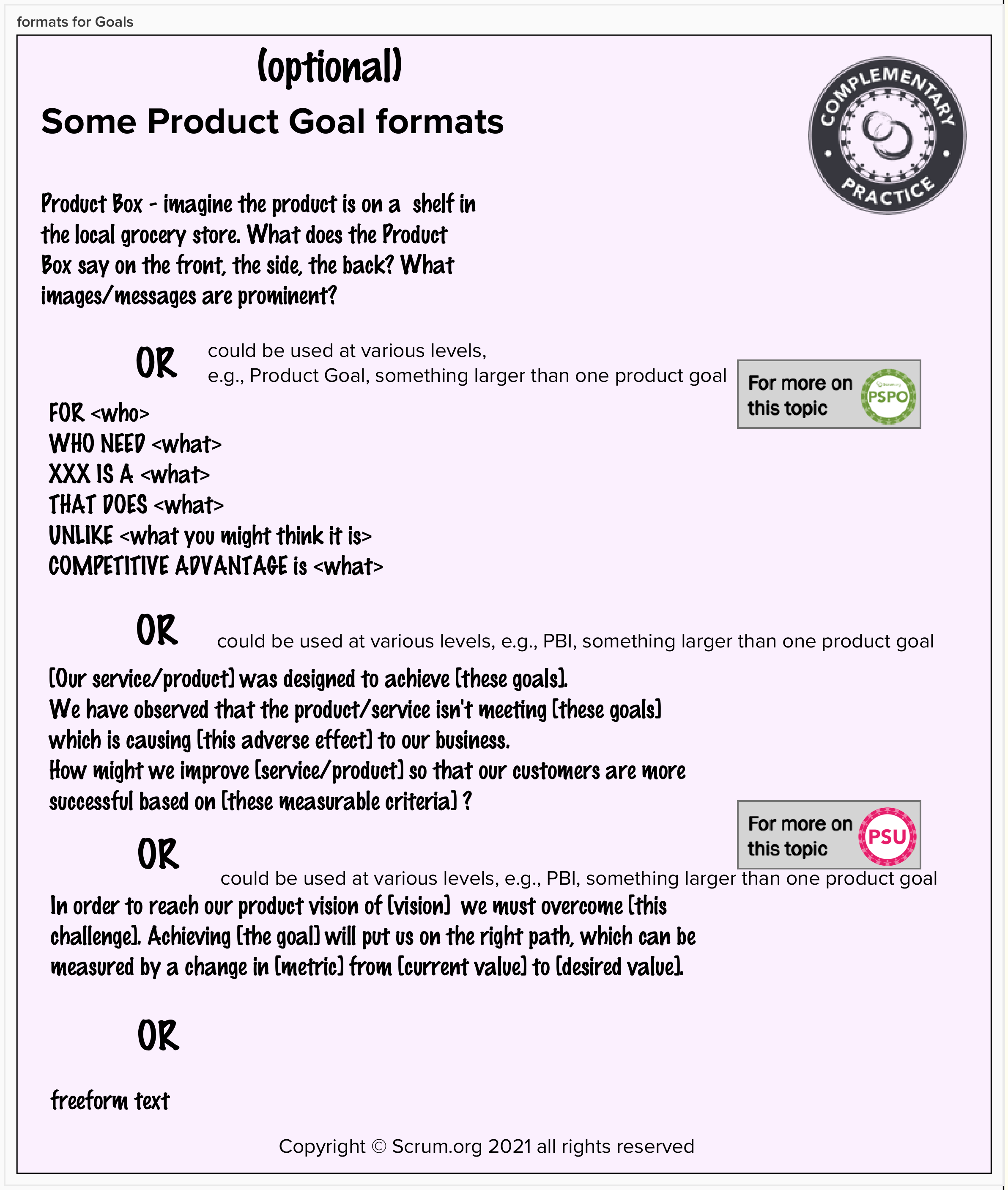 goal formats