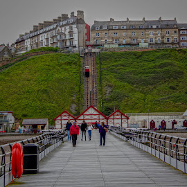 Saltburn Pier by Andrew Lancaster - Buildings & Architecture Other Exteriors ( beautiful, pier, seaside, buildings, relaxation, structures, saltburn, tram, people, holiday, sea, landscape )