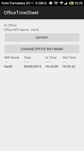 Office Wifi Time Sheet