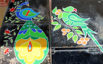 Photo: These are Rangoli arts drawn by my younger nieces on the occasion of Diwali this year. Although she took help of a pattern book, it is amazing considering that these are drawn with freehand! 6th November updated -http://jp.asksiddhi.in/daily_detail.php?id=354