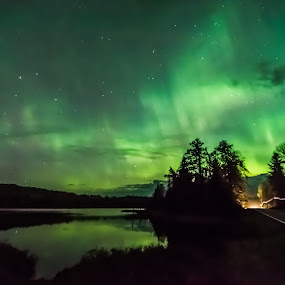Gunflint Trail Northern Lights by David Johnson - Landscapes Starscapes ( gunflint trail, colourful, bwcaw, aurora borealis, lake reflection )