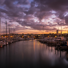 Sunset, West Haven, Auckland. by Graeme Hunter - Transportation Boats