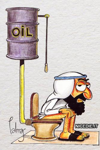 un petroliere è seduto sul WC al posto del serbatoio dell'acqua c'è quello del petrolio