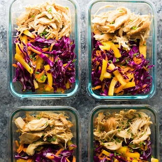Slow Cooker Chipotle Honey Chicken Taco Salad Lunch Bowls.