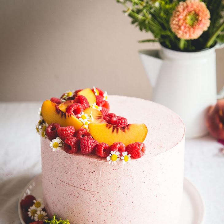 Almond Layer Cake with Peach + Mascarpone Filling & Raspberry Buttercream Recipe
