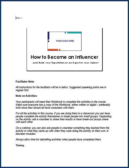 How to Become an Influencer - Speaker Notes