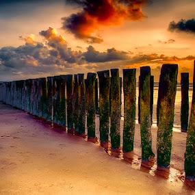wavebreakers by Egon Zitter - Buildings & Architecture Other Exteriors ( water, wavebreaker, pole, sunset, dutch, ocean, beach )