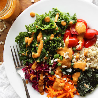 Vegan Kale Quinoa Bowl with Peanut Dressing