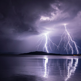 End of summer by Jernej Lipovec - Landscapes Weather ( exposure, sony, adriatic, lightning, croatia, šibenik, sea, weather, night, storm )