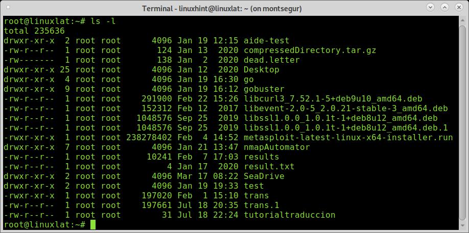 order archivos tamaño linux