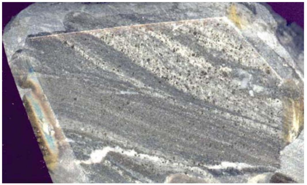 Banded metasomatite of pyrite-albite-potas feldspar