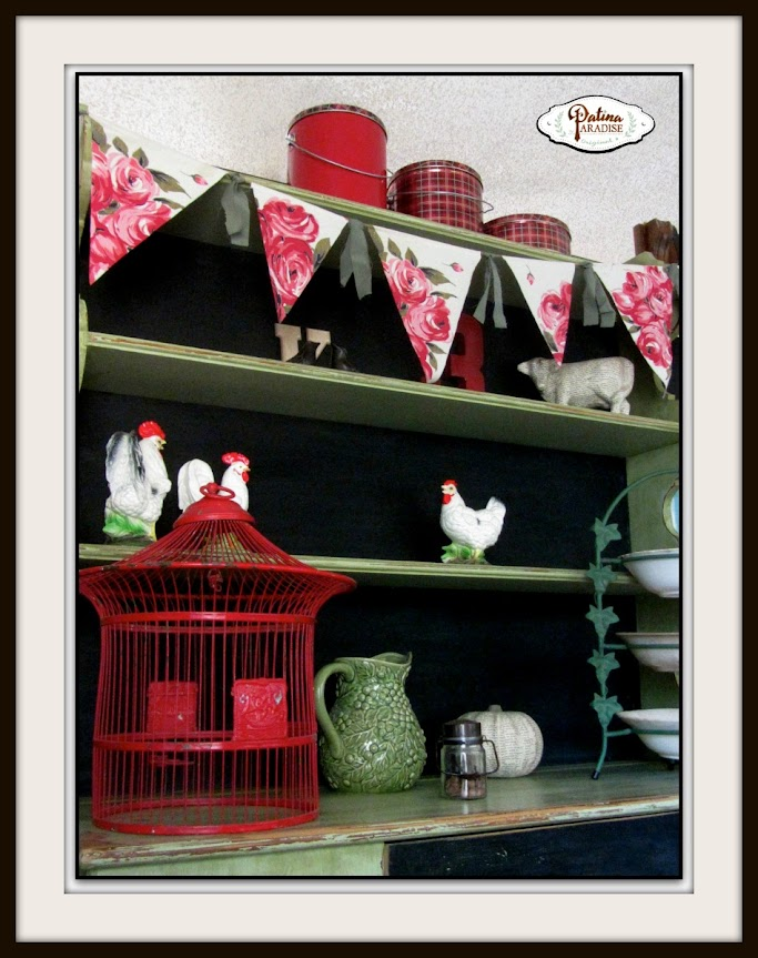 Vintage Tablecloth Repurposed into Banner/Bunting