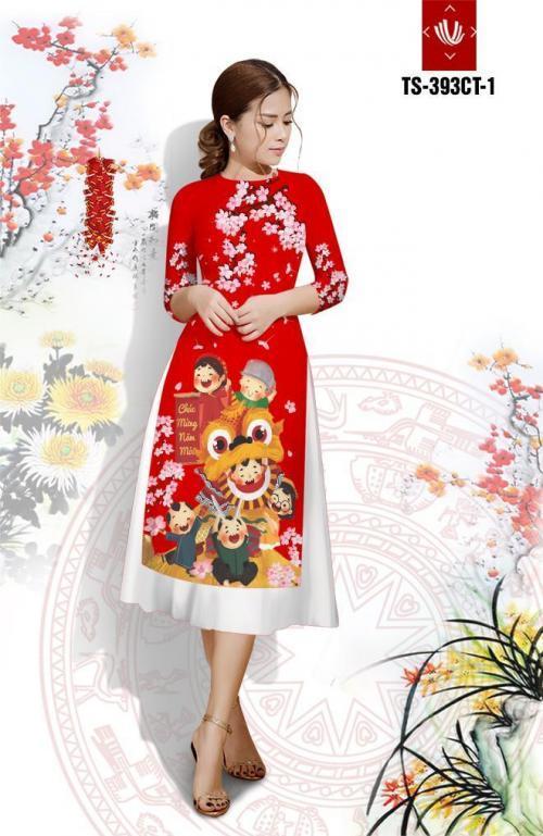 Set áo dài cách tân tơ nhung múa lân chúc mừng năm mới AV313
