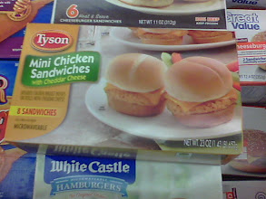Photo: We finally found the Tyson Mini Chicken Sandwiches in the freezer area. We had a tough time finding them at first because they are separated from other Tyson products, but can be found in the stand-up coolers (without doors).