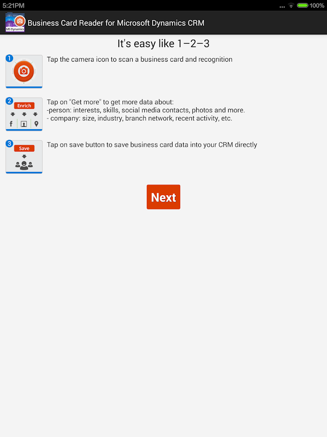 business card reader for ms dynamics crm   android apps on