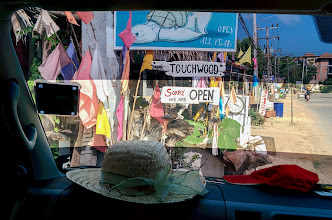 Photo: Seen through the taxi windshield on the way back to Krabi airport.