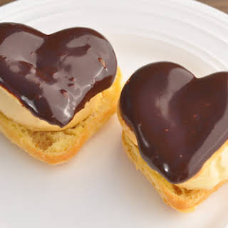 Heart Puff Pastries with Ice Cream & Chocolate Sauce.