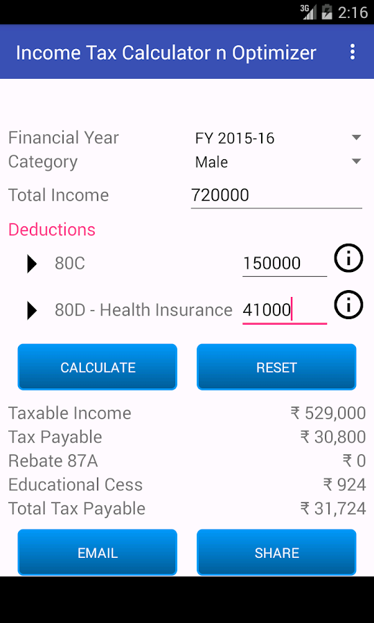 Income Tax Calculator Optimize- screenshot