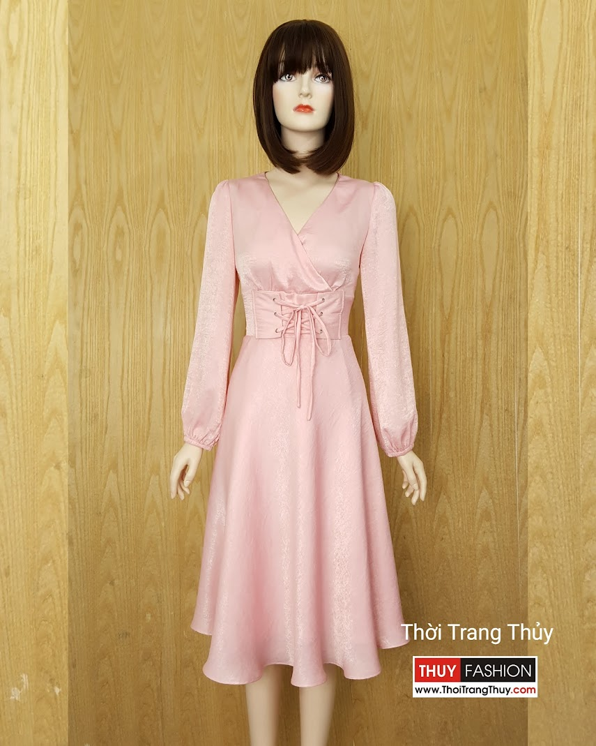 Váy midi dự tiệc buộc dây eo vải Lụa hồng V588 tại Hải Phòng